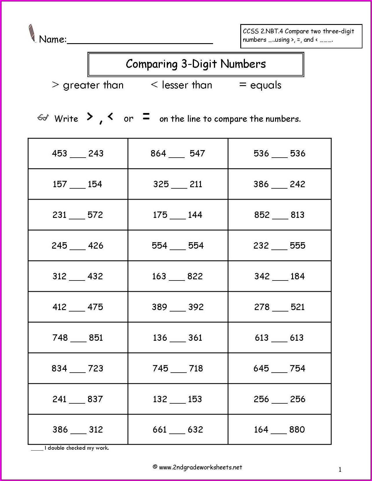 Comparing And Ordering 3 Digit Numbers Worksheets