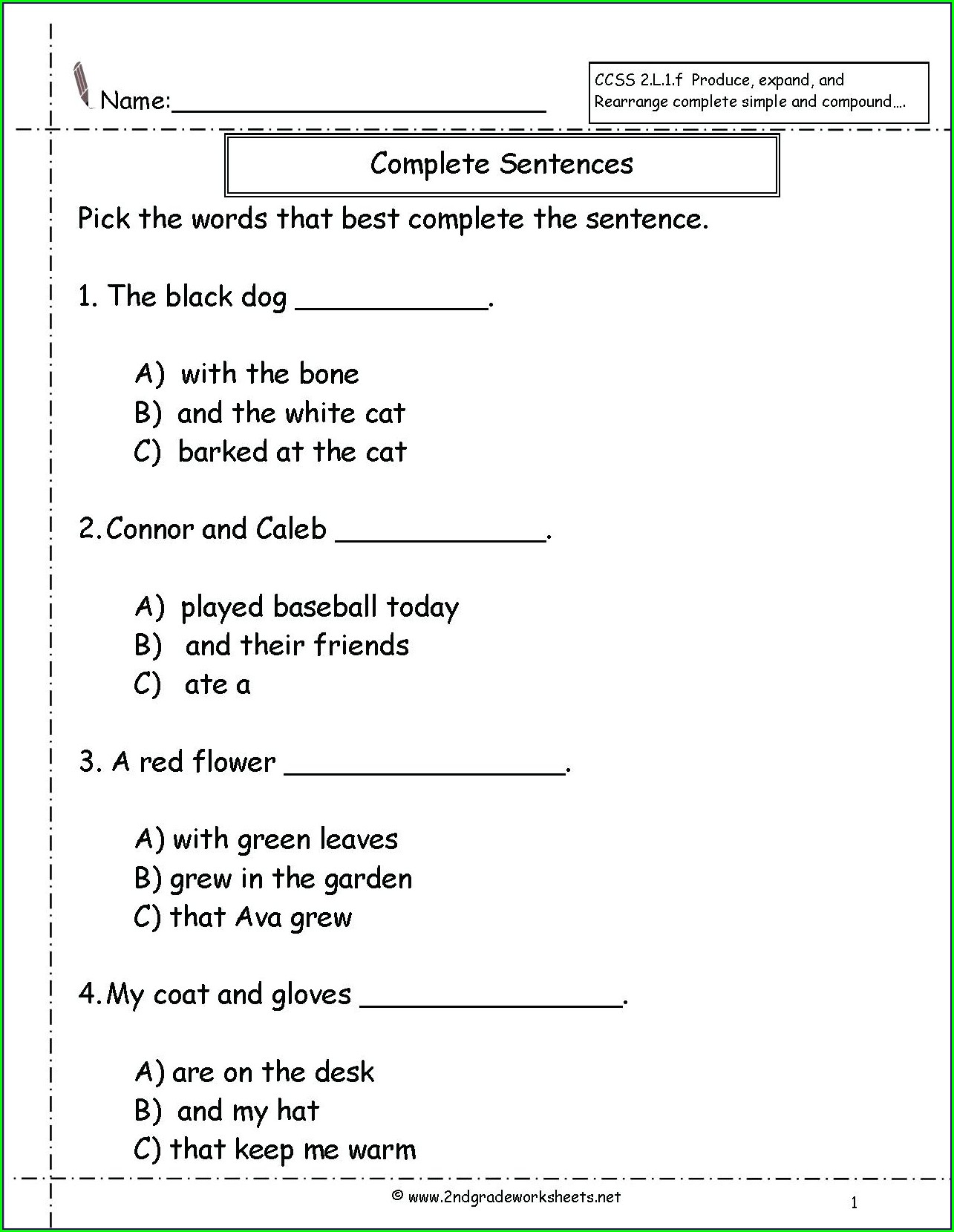 Complete Sentences Worksheet Grade 4