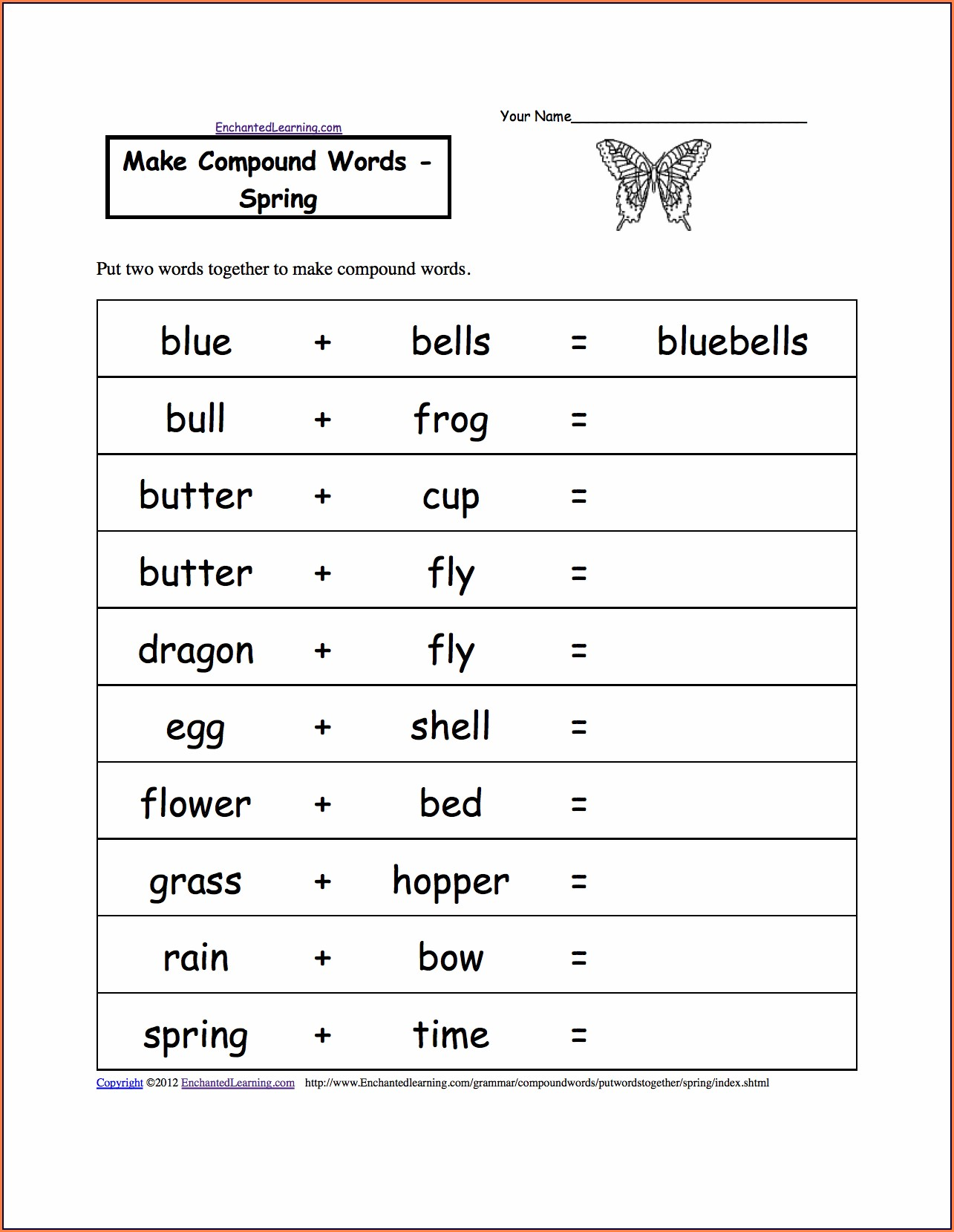Compound Word Worksheet Free