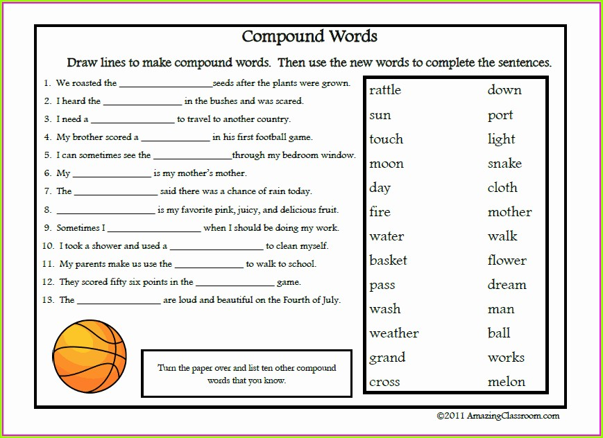 Compound Words Worksheet With Answer Key