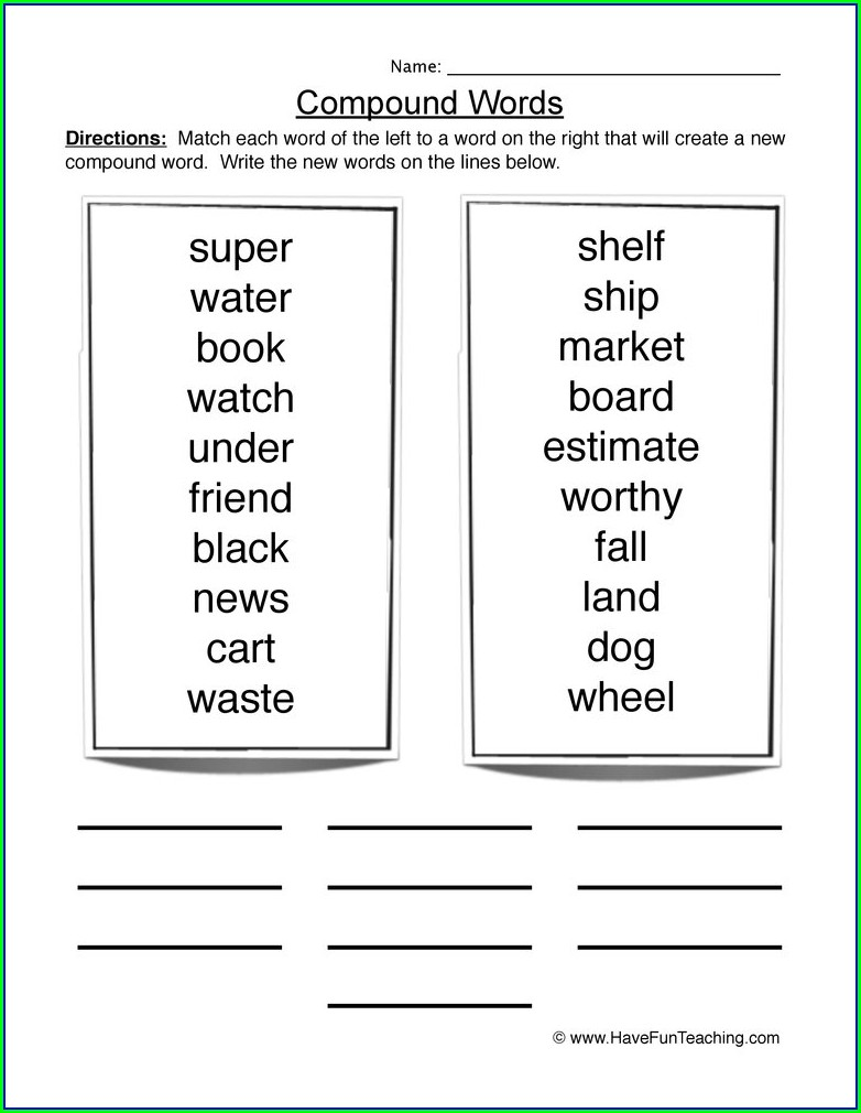 Compound Words Worksheets For Grade 4 Pdf