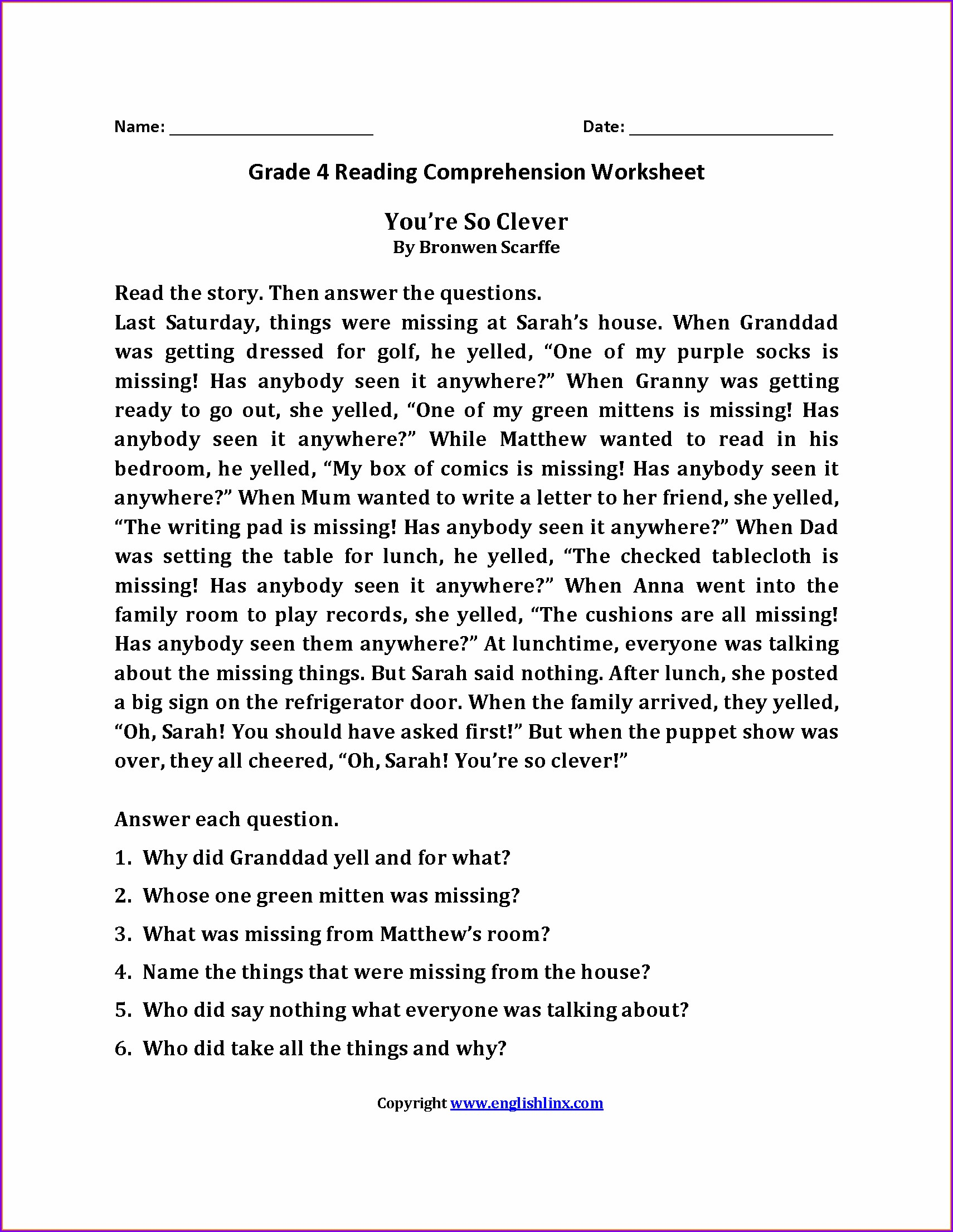 Comprehension Grade 4 English Worksheets