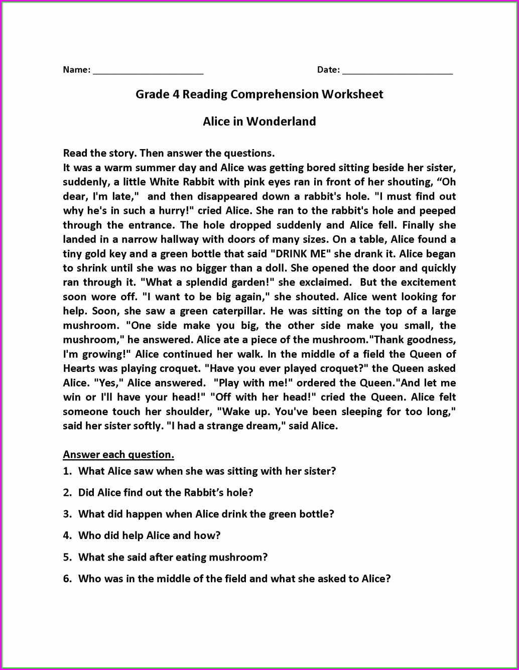 Comprehension Passages For Class 4 Worksheets