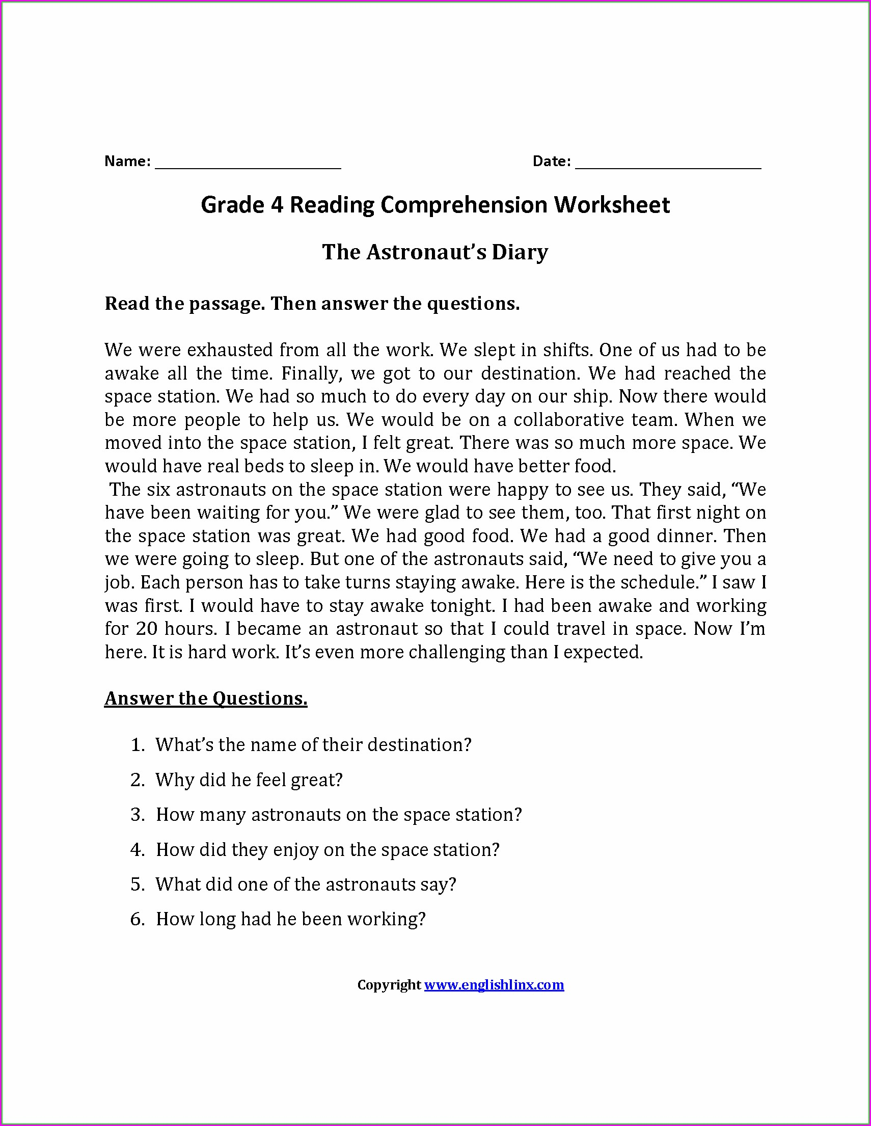 Comprehension Passages For Class 4