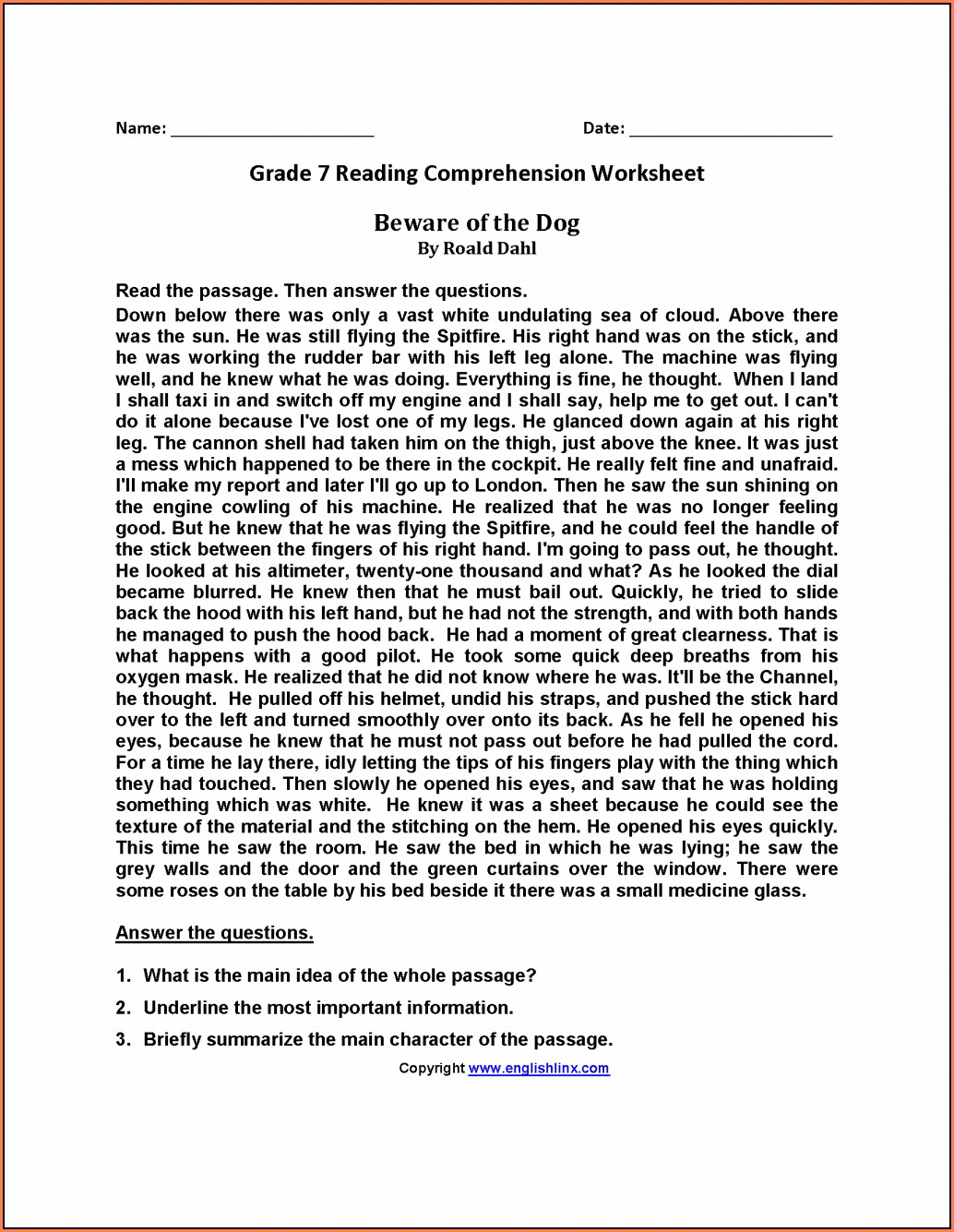 Comprehension Worksheet With Answers
