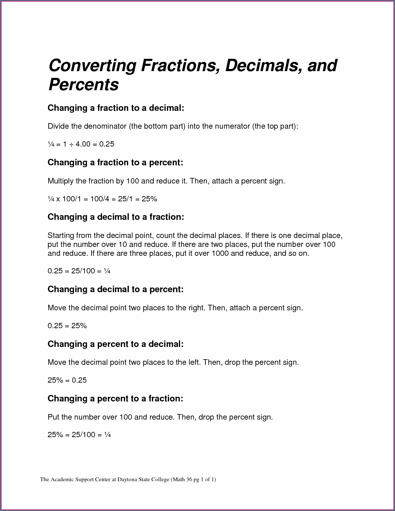 Converting Fractions Into Decimals Worksheet