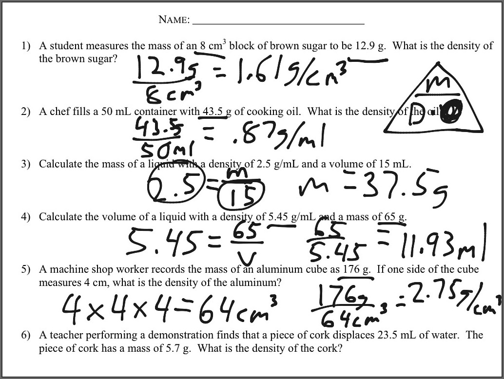 Density Calculations Worksheet 1 Answer Key