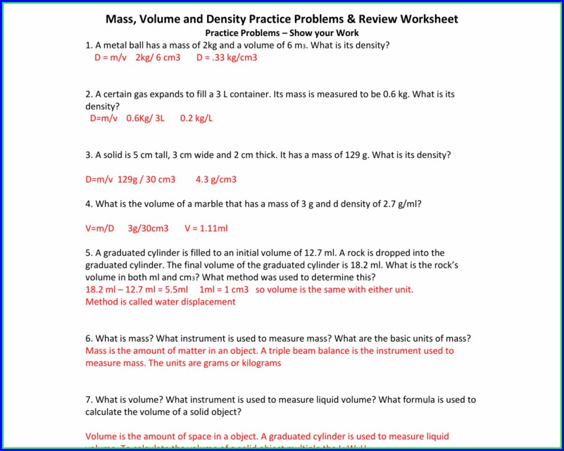 Density Problems Worksheet Answers