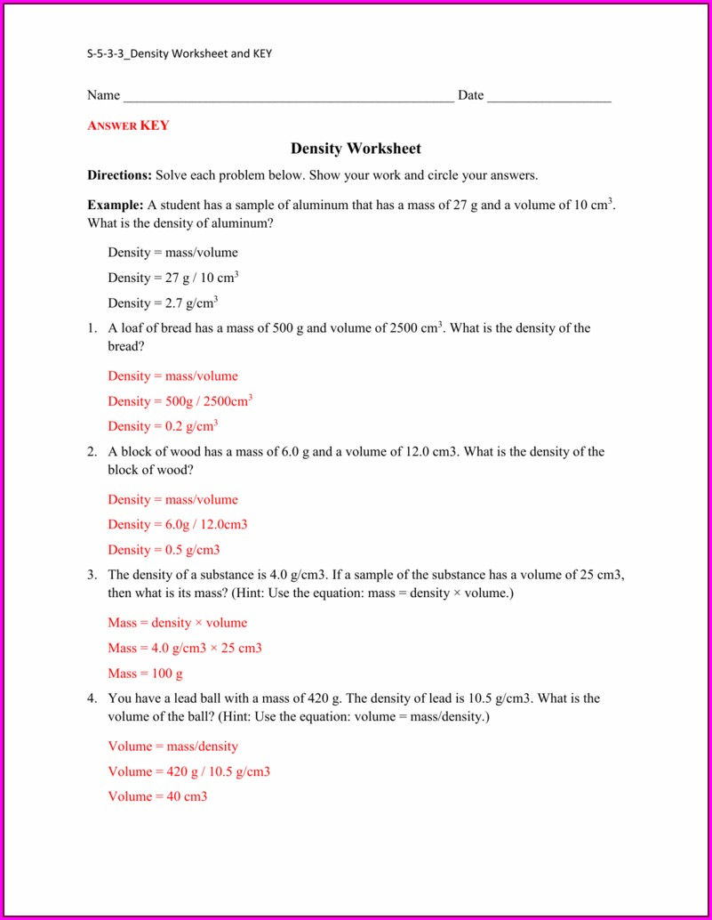 Density Worksheet And Key