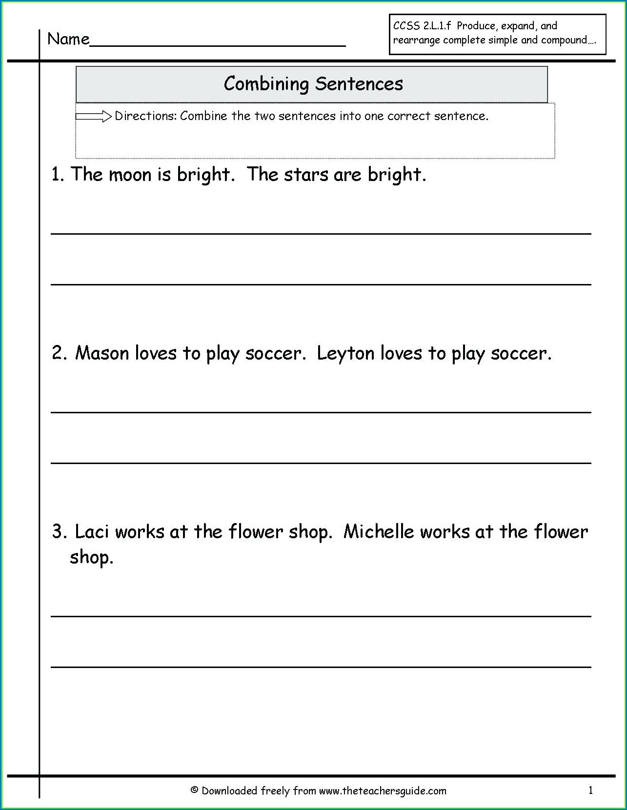 Diagramming Compound Sentences Worksheet