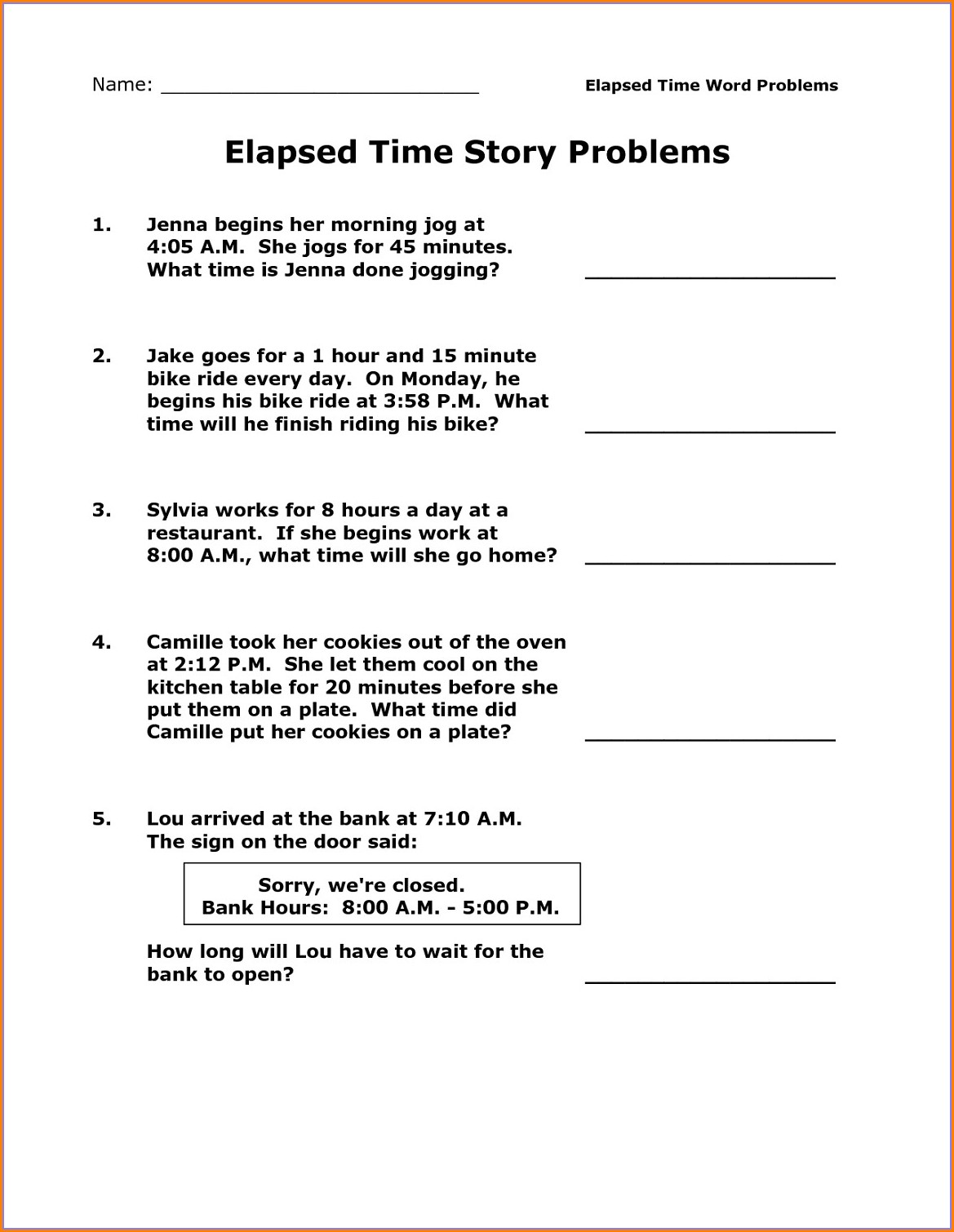 Elapsed Time Worksheets Using A Number Line