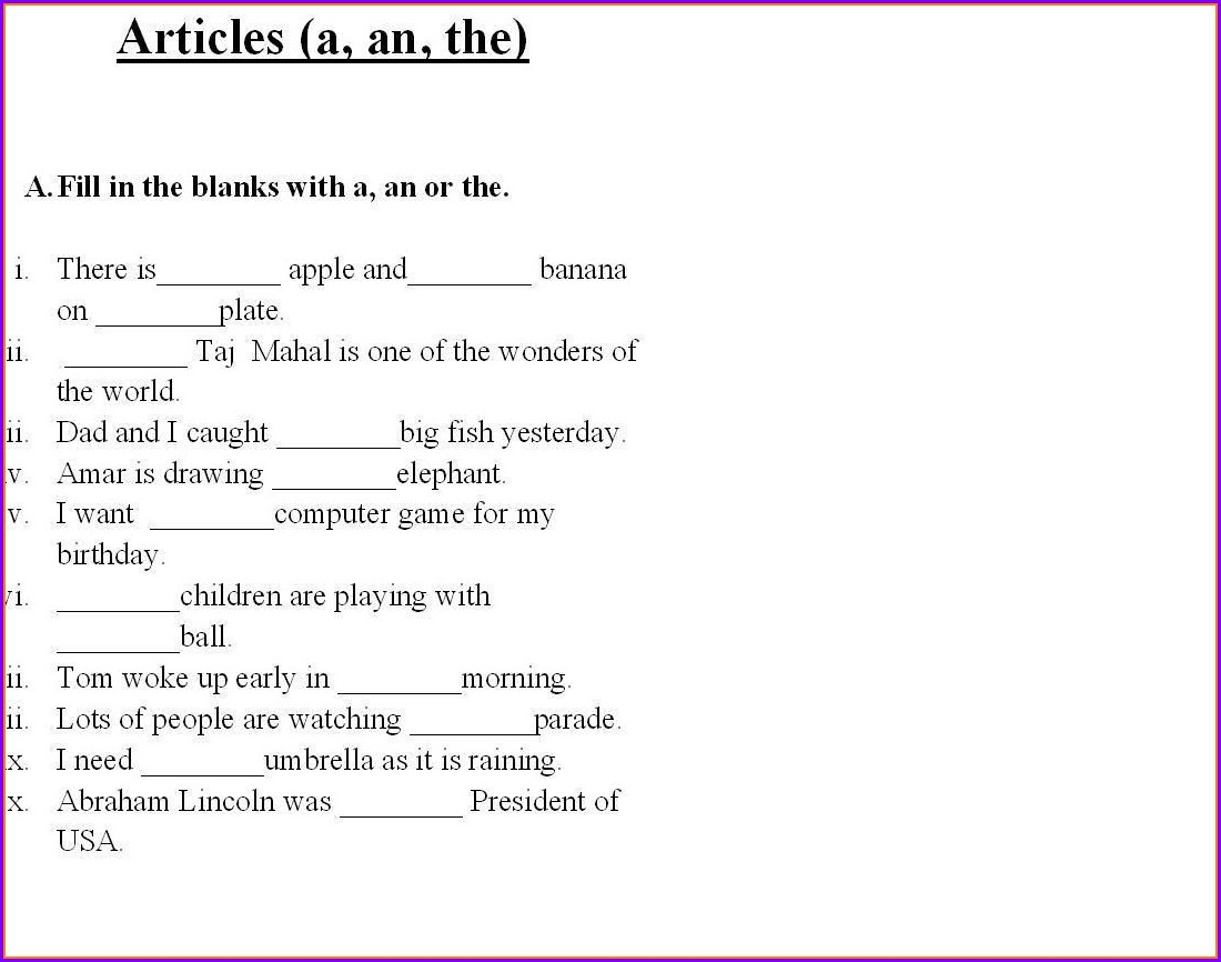 English Articles Worksheets For Grade 1