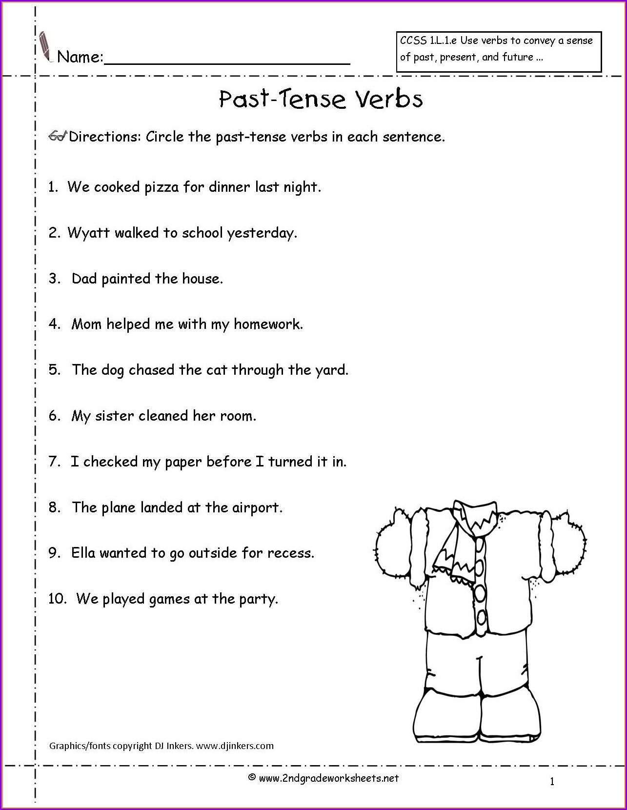 English Worksheet For Grade 2 Past Tense