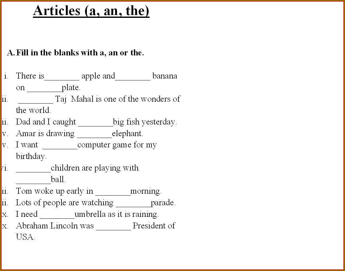 English Worksheets And Answers