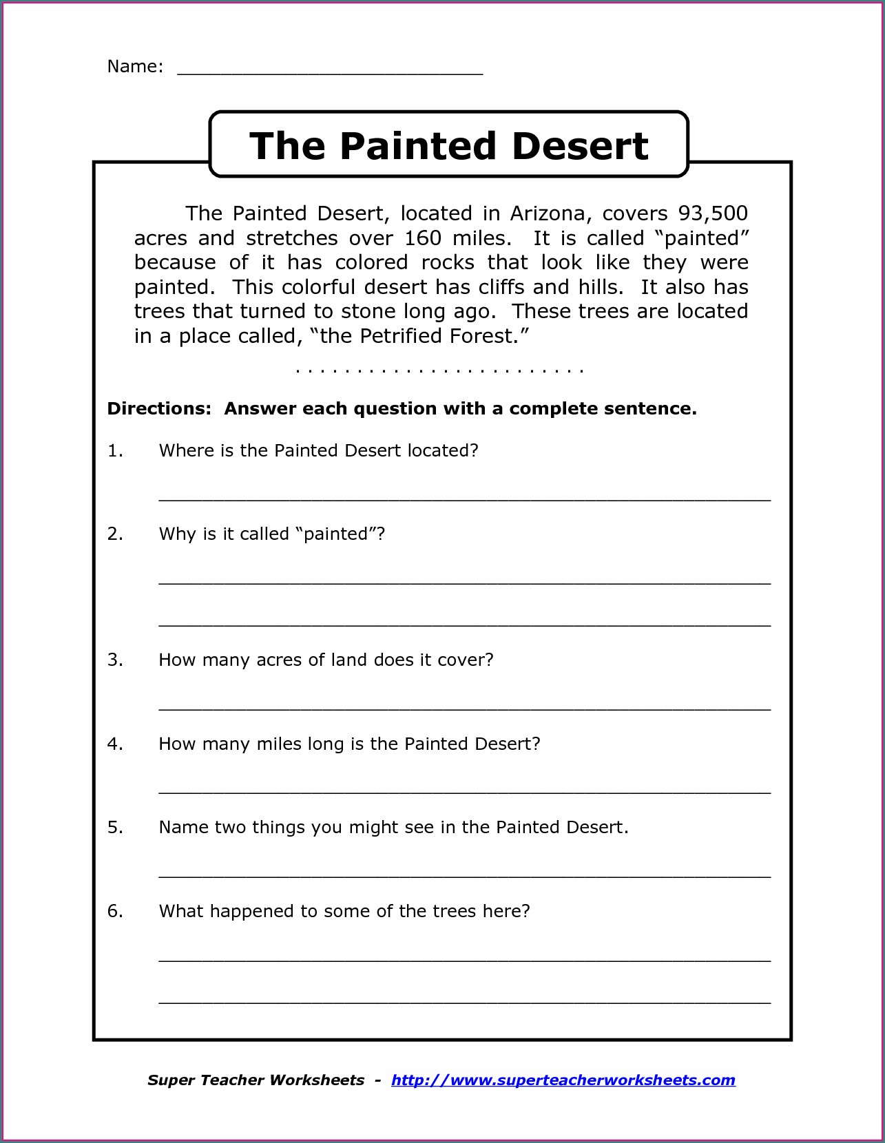 English Worksheets For Grade 6 Free Comprehension