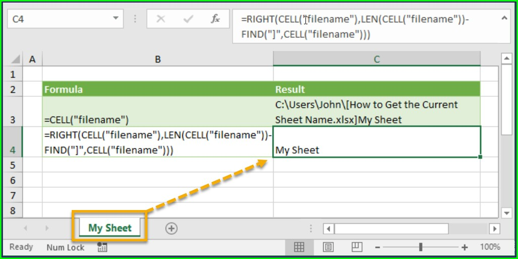 Excel Cell Function Worksheet Name
