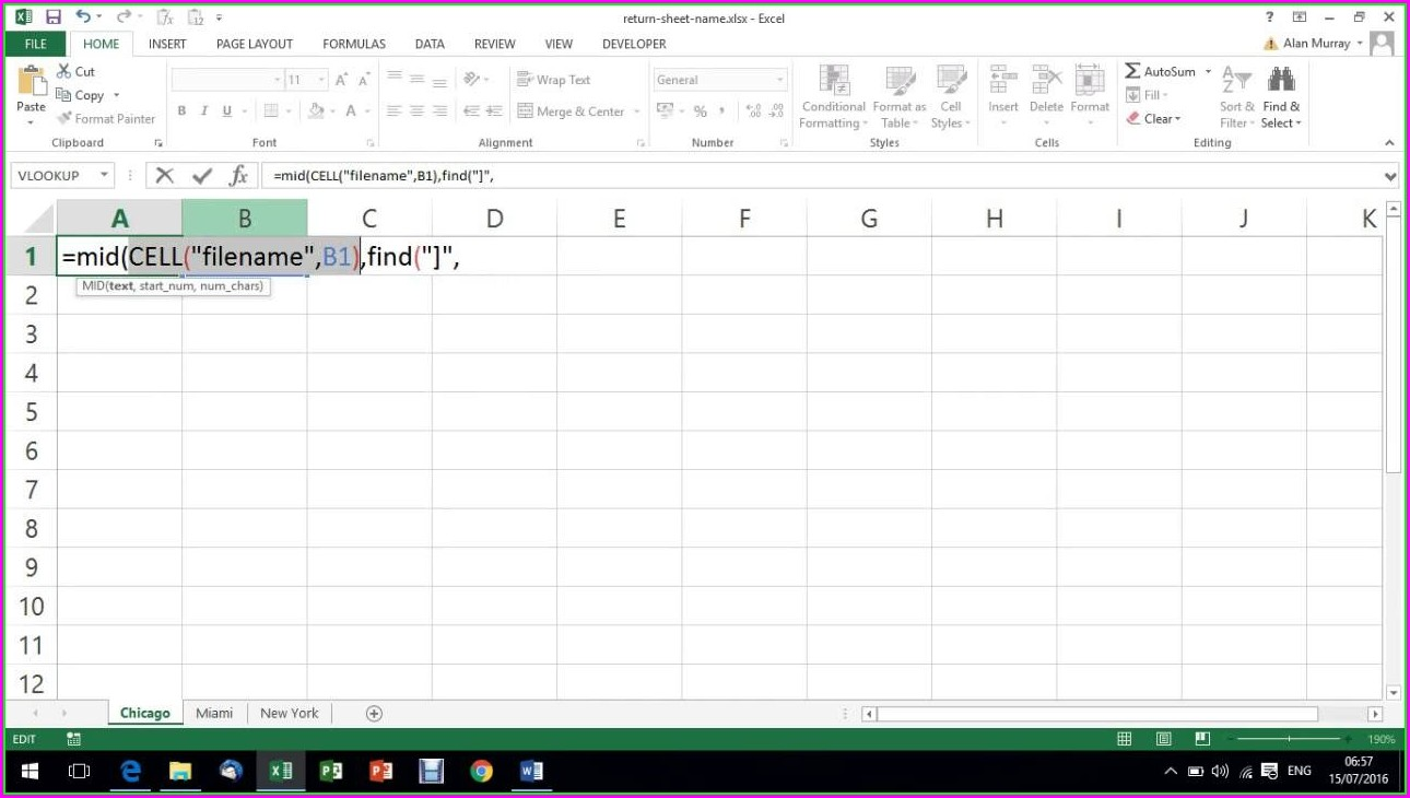 Excel Use Worksheet Name In Cell