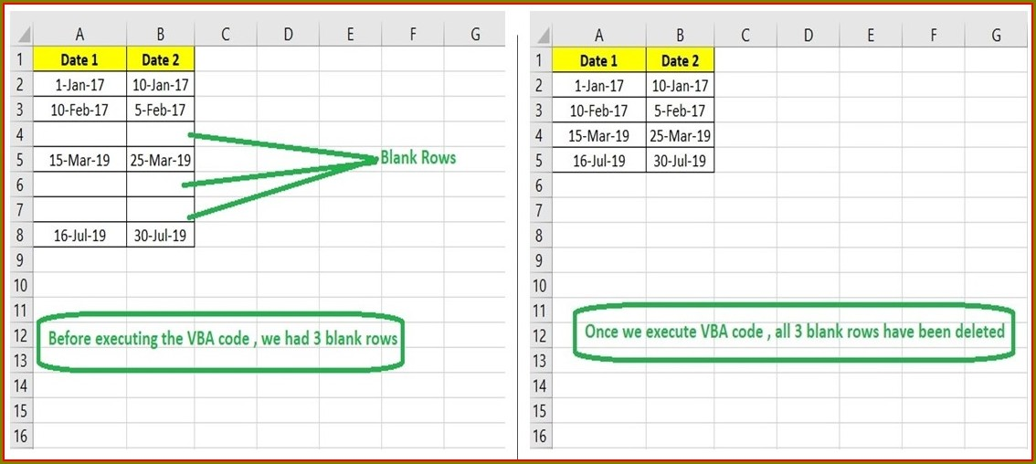 Excel Vba Delete Blank Rows In Worksheet