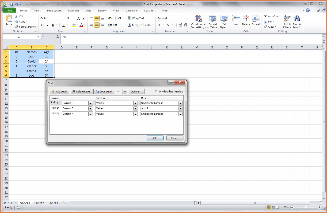 Excel Vba Sort Column A To Z