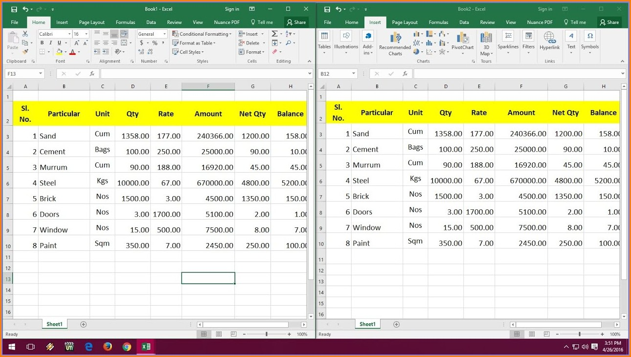 Excel Worksheet With Formulas