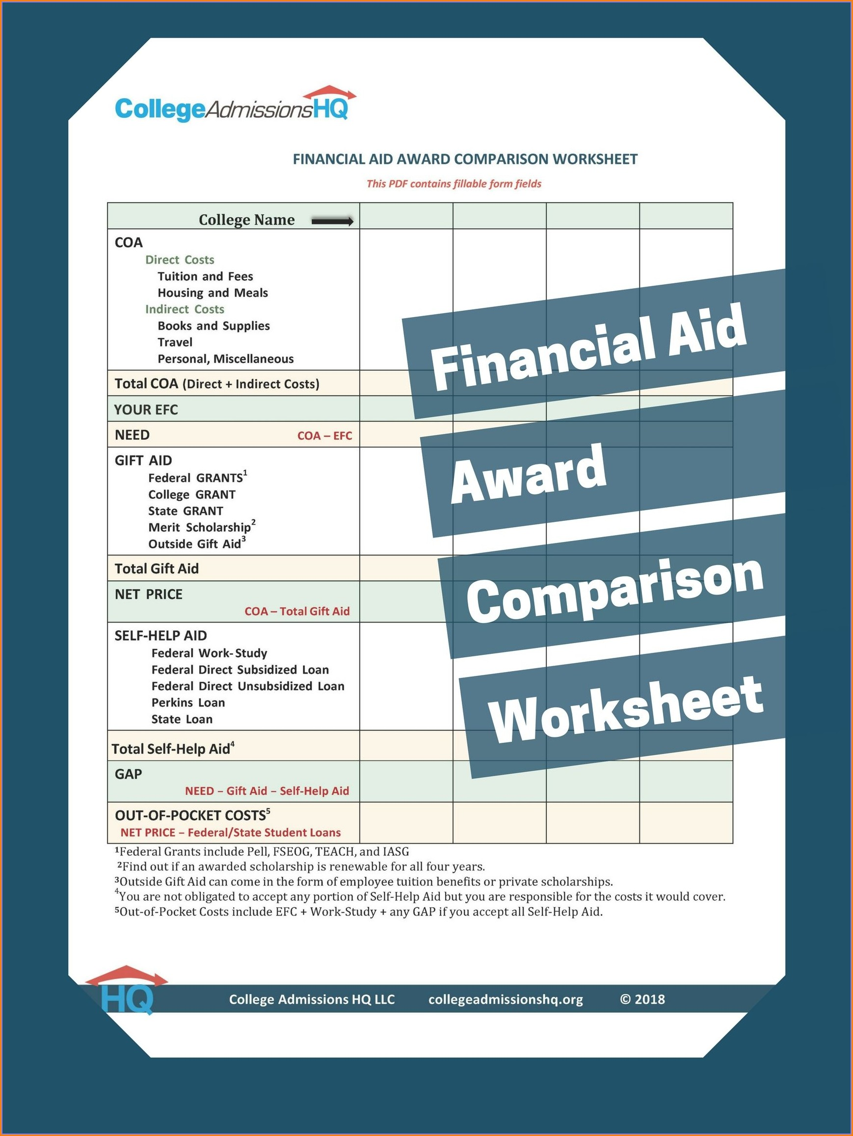 Financial Aid Comparison Worksheet