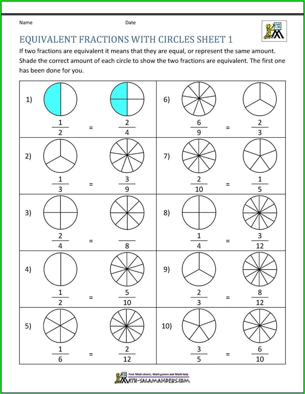 Finding Equivalent Fractions Worksheet 4th Grade