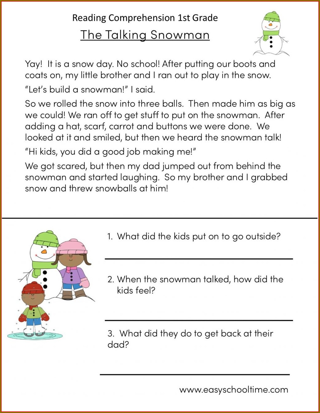 First Grade 1st Grade Reading Worksheets Pdf