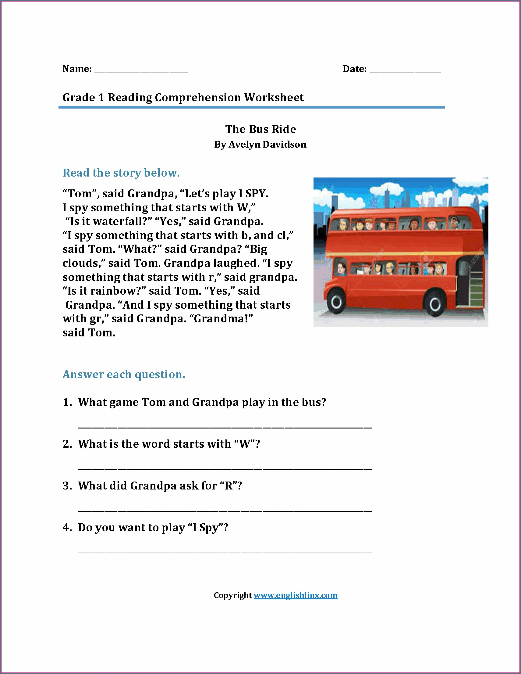 First Grade Grade 1 Reading Comprehension Worksheets