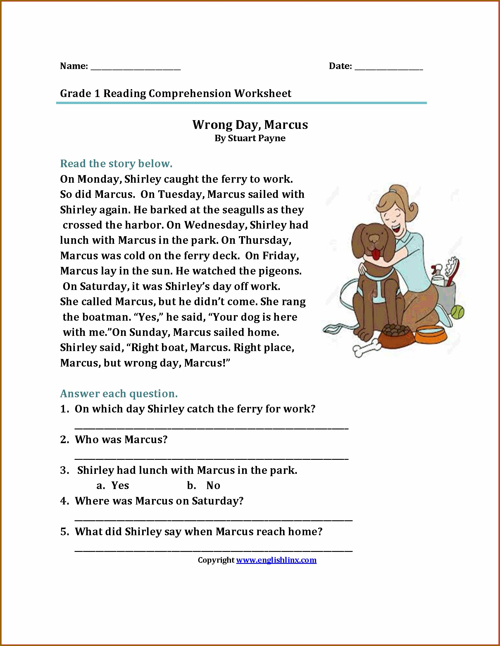 First Grade Grade 1 Reading Worksheets Pdf