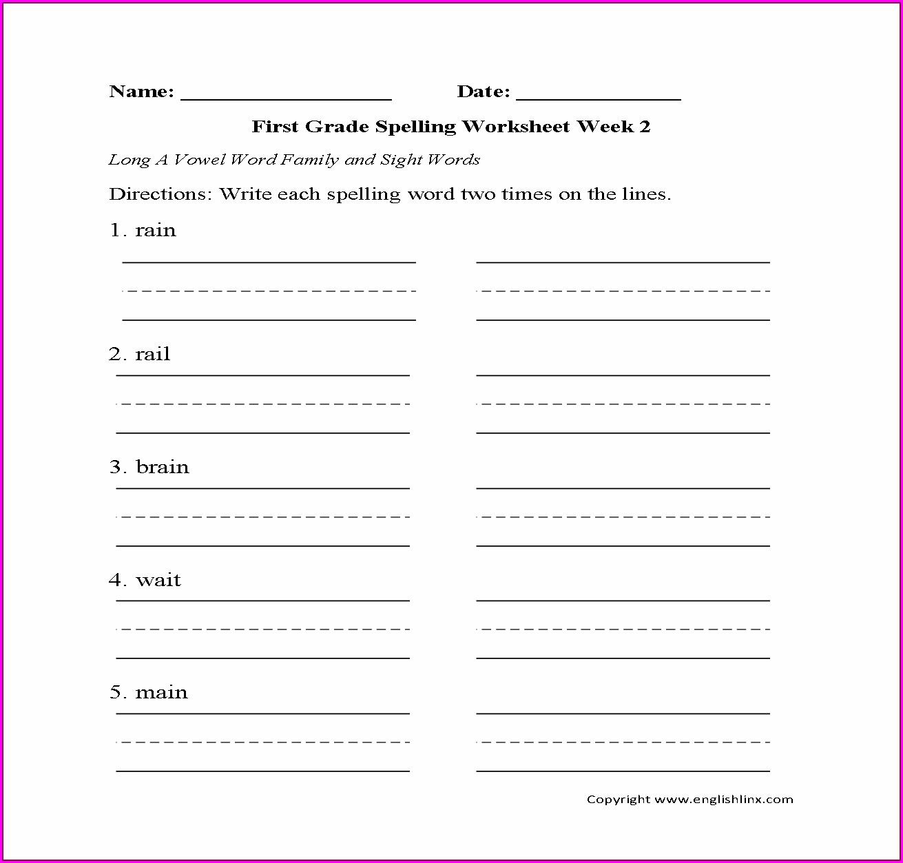 First Grade Long Vowel A Worksheets