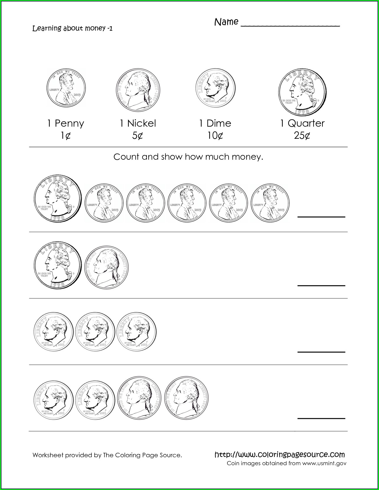First Grade Money Counting Worksheets