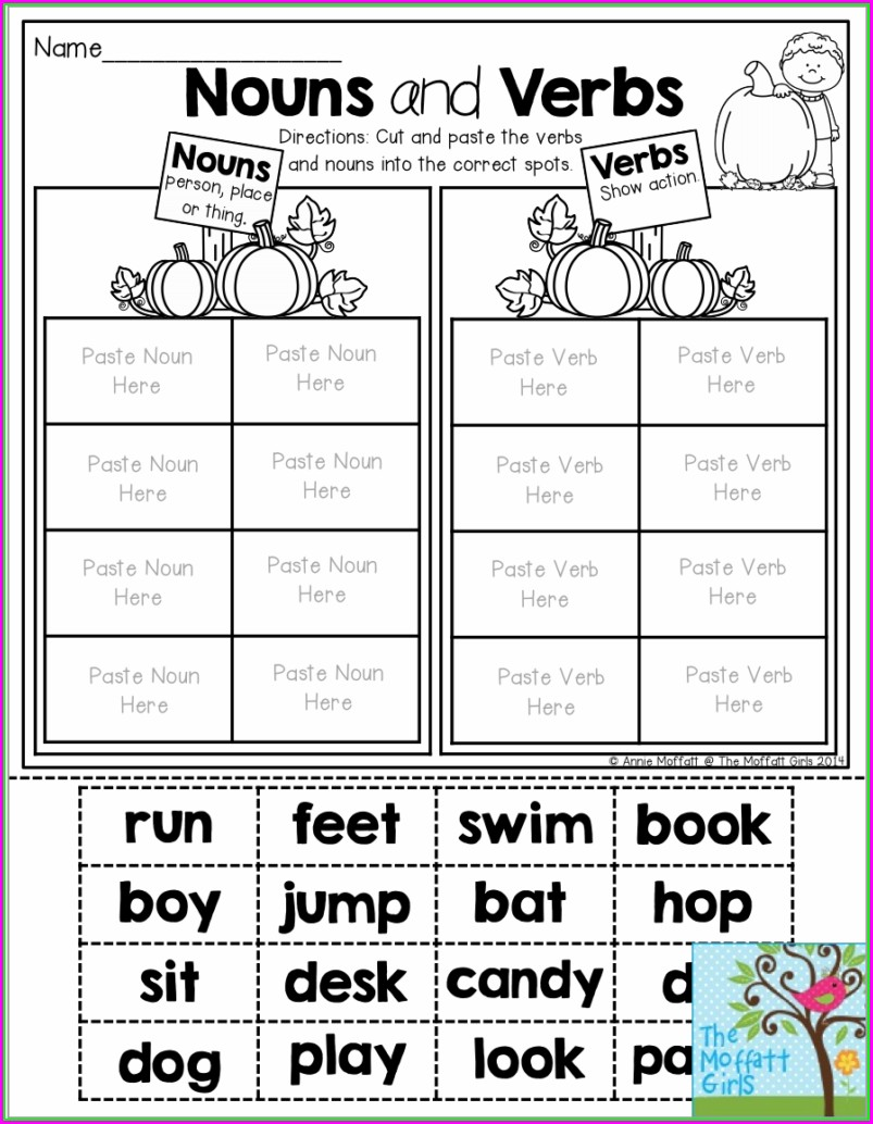 First Grade Worksheets For Verbs