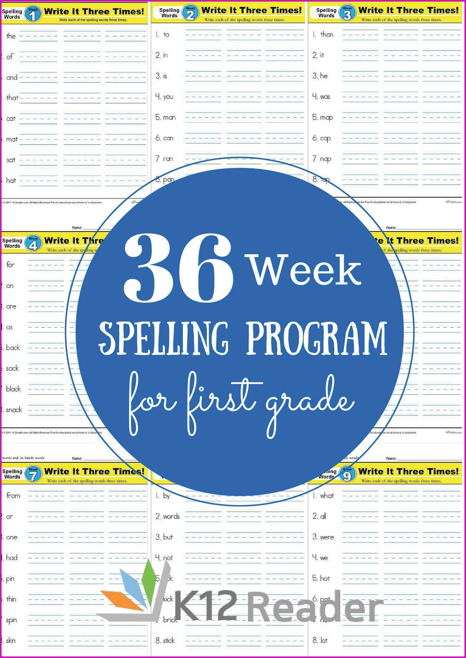 First Grade Year 1 Spelling Worksheets