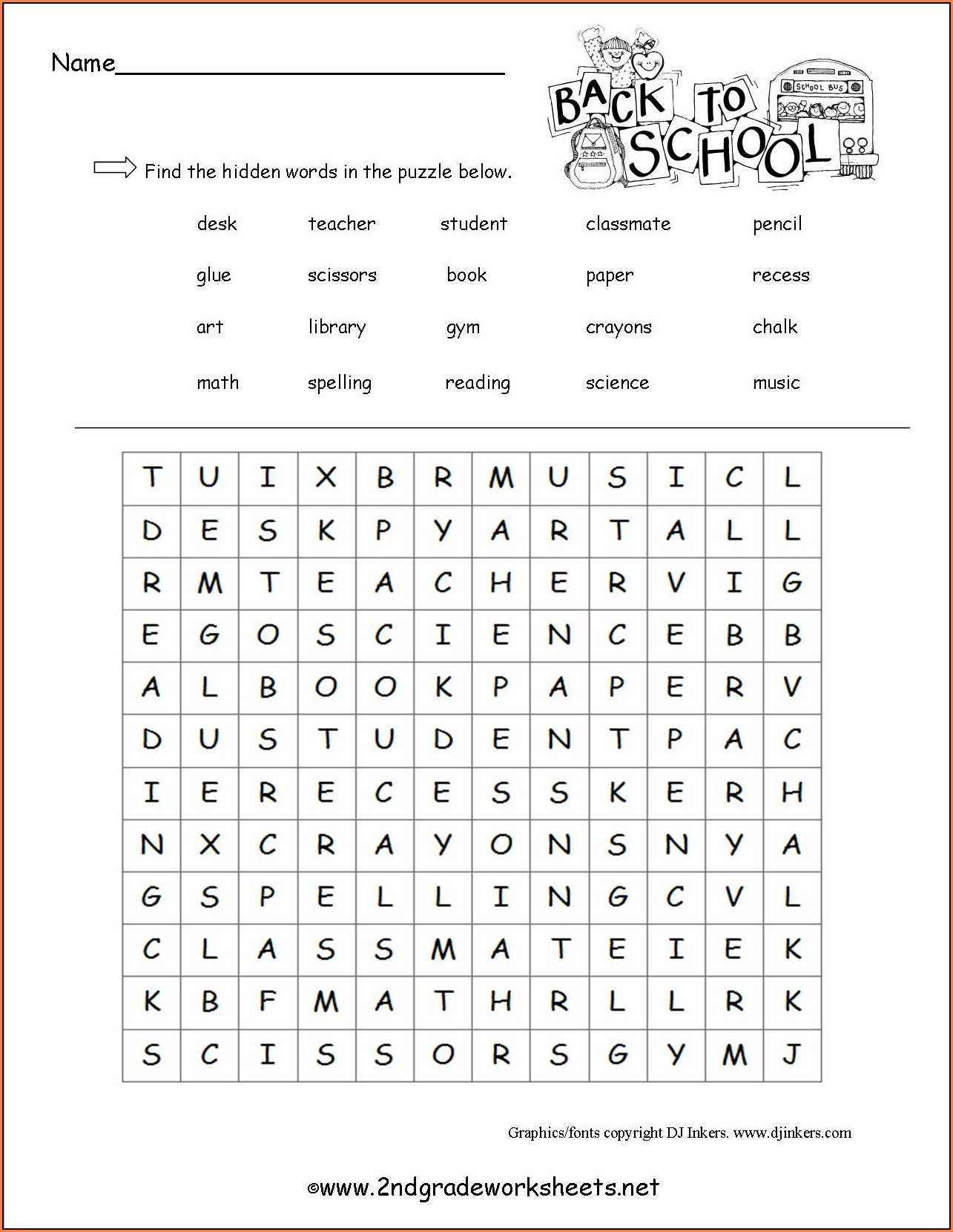 First School Worksheet Printables