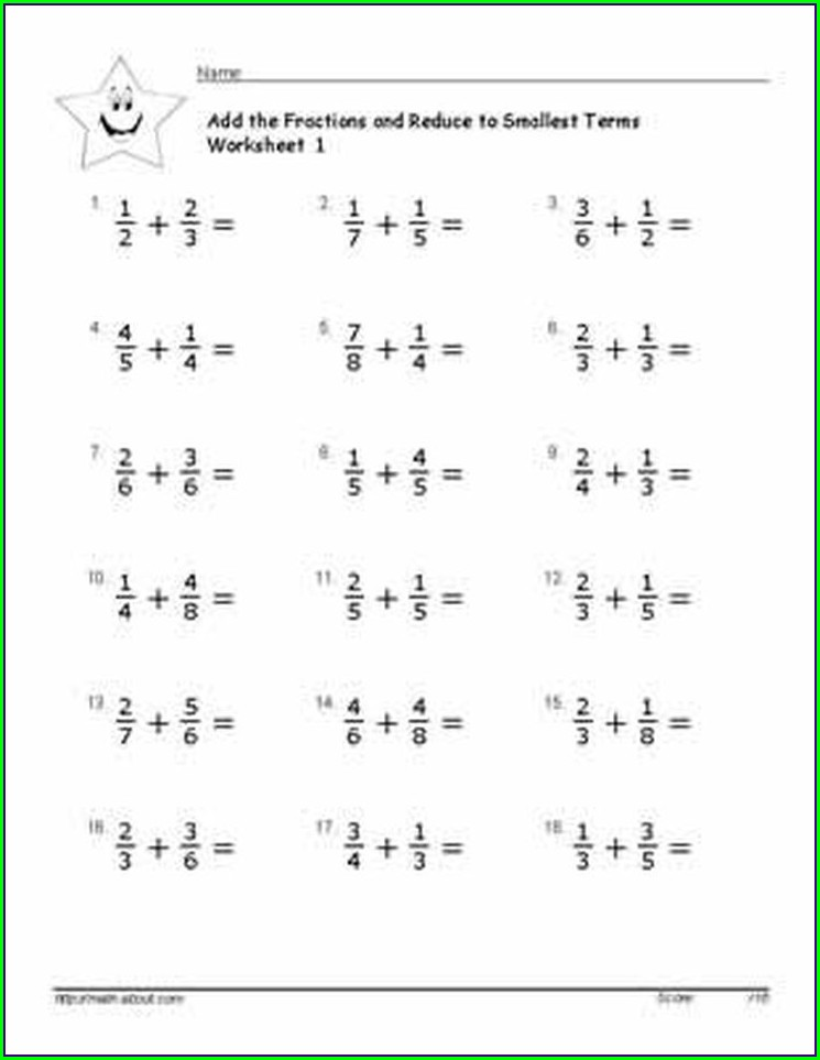 Fractions Worksheet Level 6