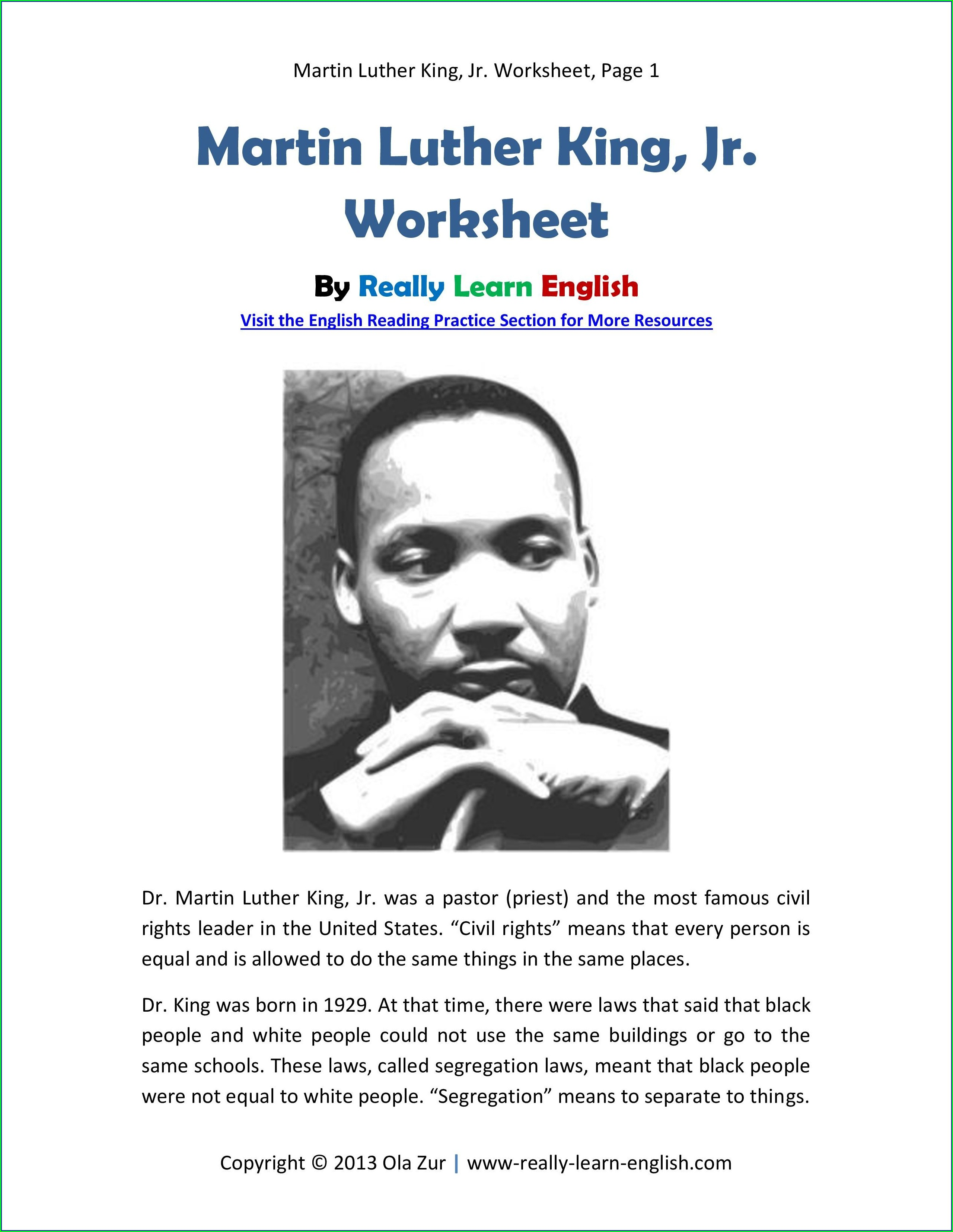 Free Martin Luther King Jr Reading Comprehension Worksheets