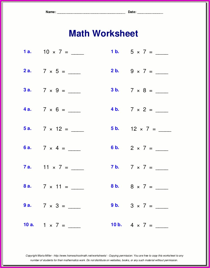 Free Printable Fifth Grade Math Worksheets Grade 5