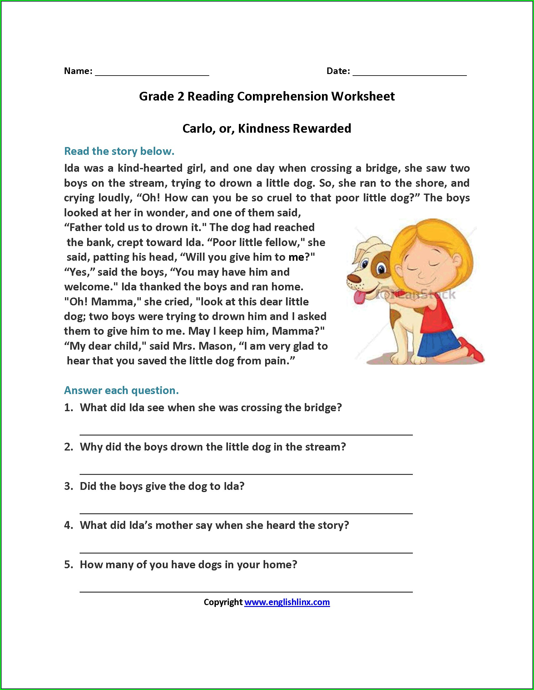 Free Printable Reading Comprehension Worksheets 2nd Grade