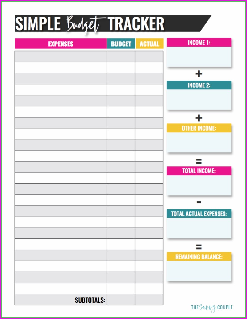 Free Printable Simple Budget Worksheet