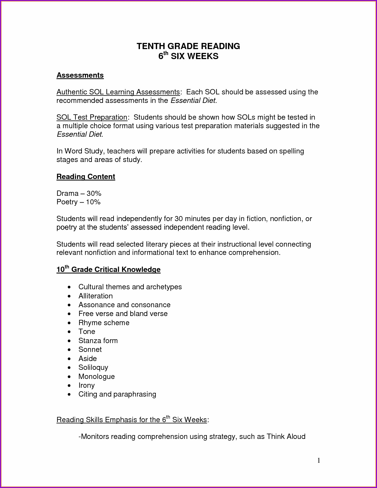 Free Printable Worksheet For Grade 6 English