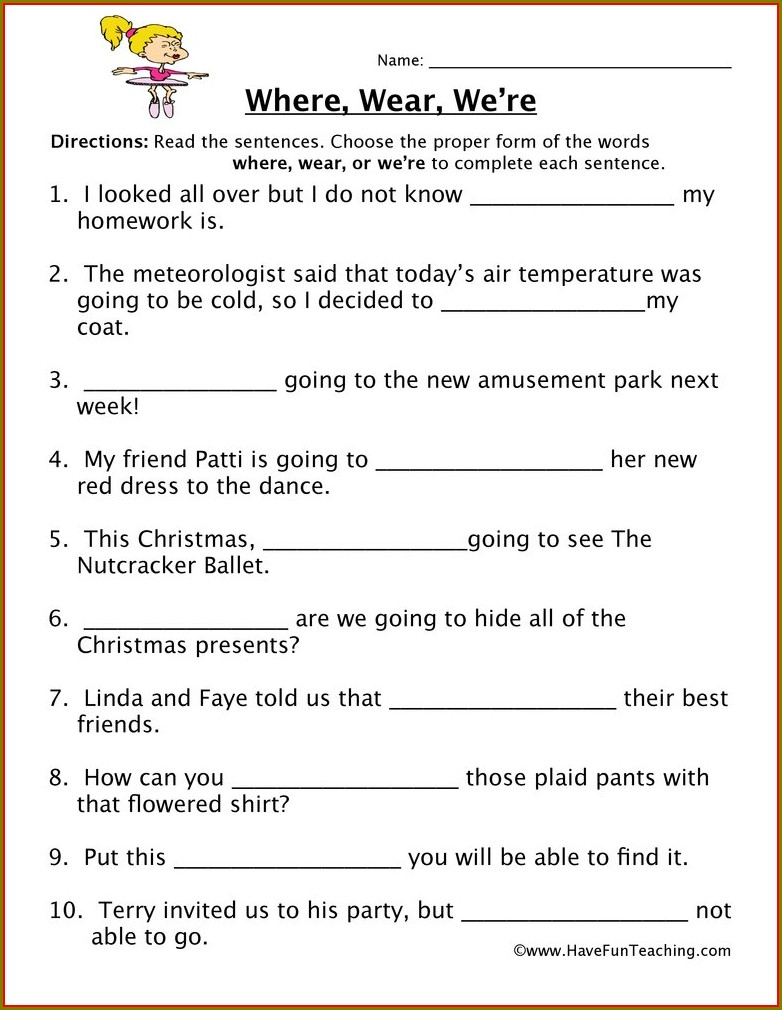 Free Printable Worksheets With Homophones