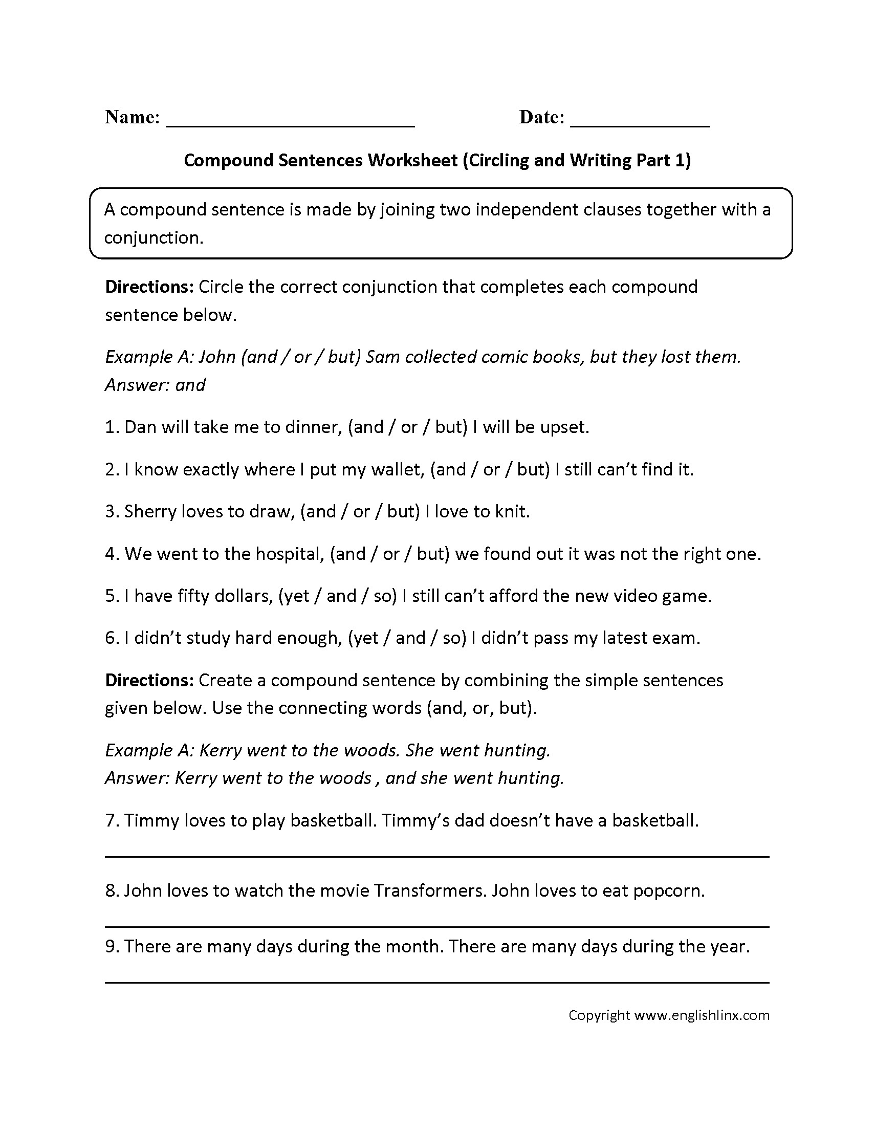 Free Printable Writing Sentences Worksheets For Kindergarten