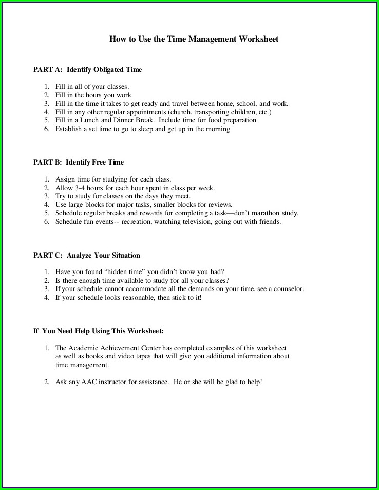 Fun Time Management Worksheets