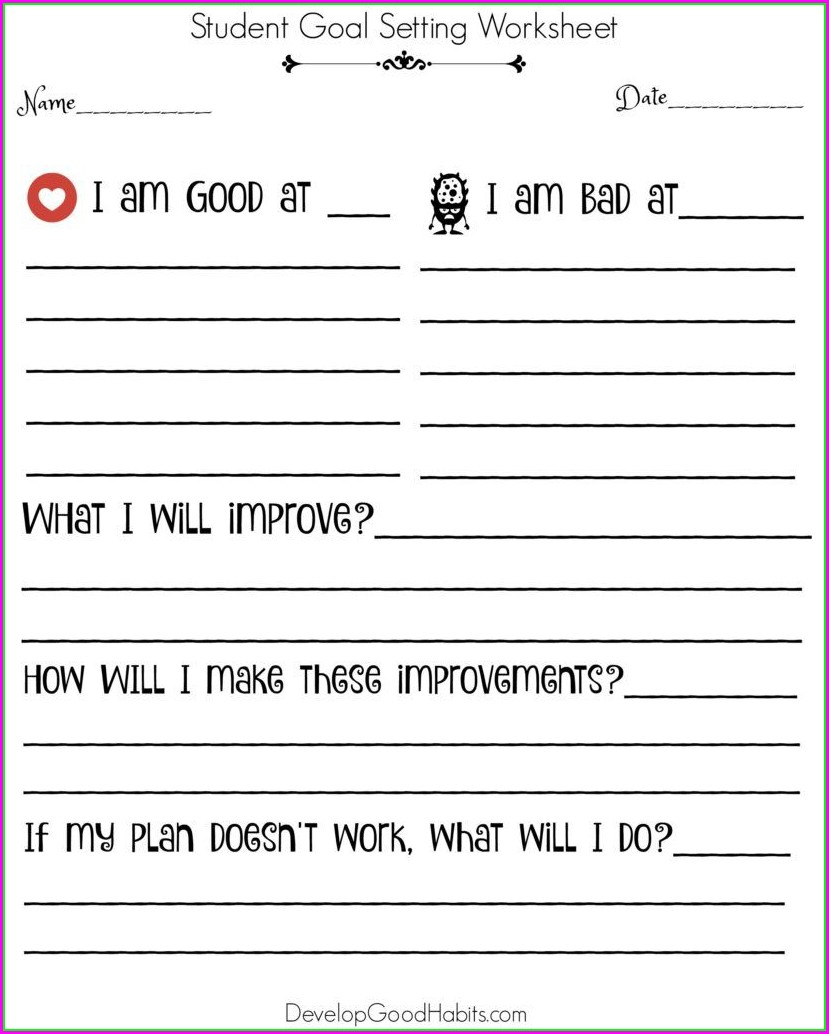 Goal Setting Worksheet For College Students Pdf