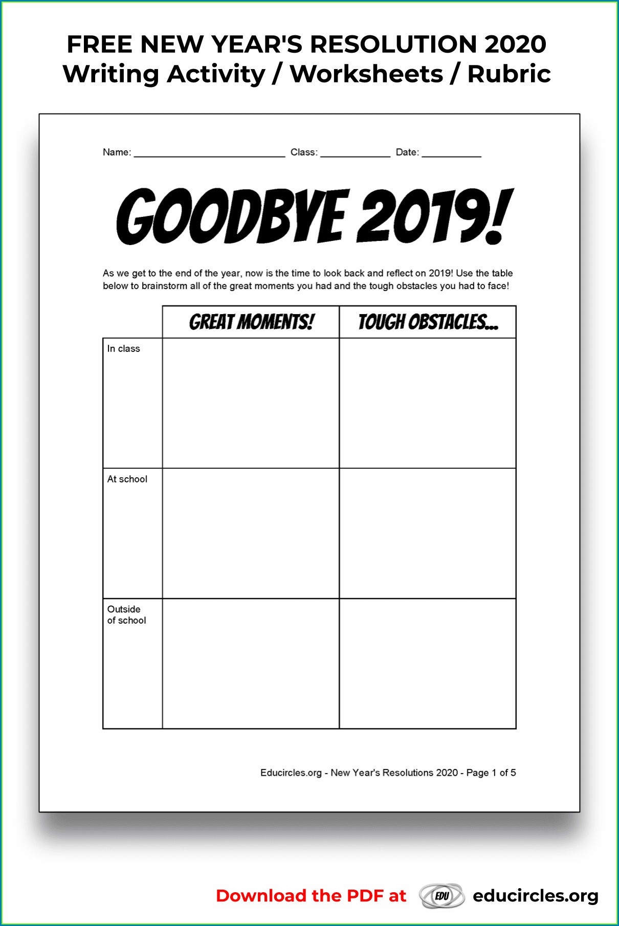 Goal Setting Worksheet For Middle School Students Pdf