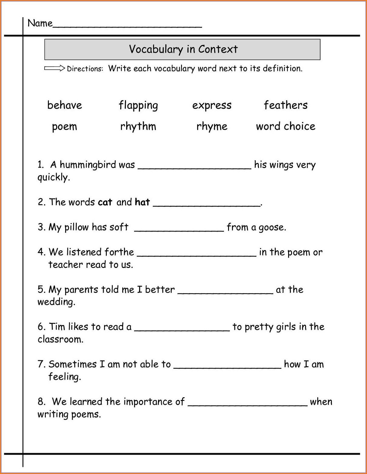 Grade 1 English Language Worksheets