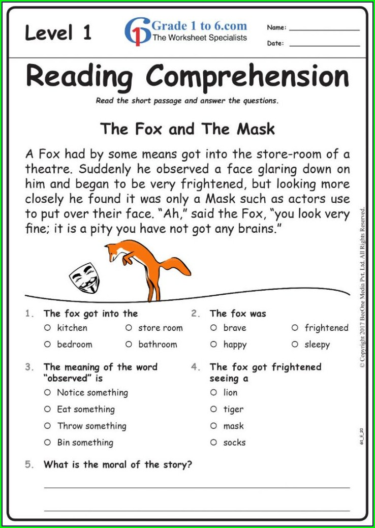 Grade 1 English Worksheet For Class 1