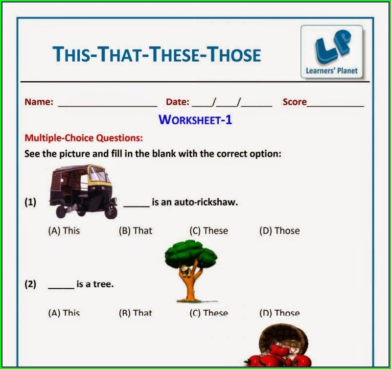 Grade 1 English Worksheet For Kids