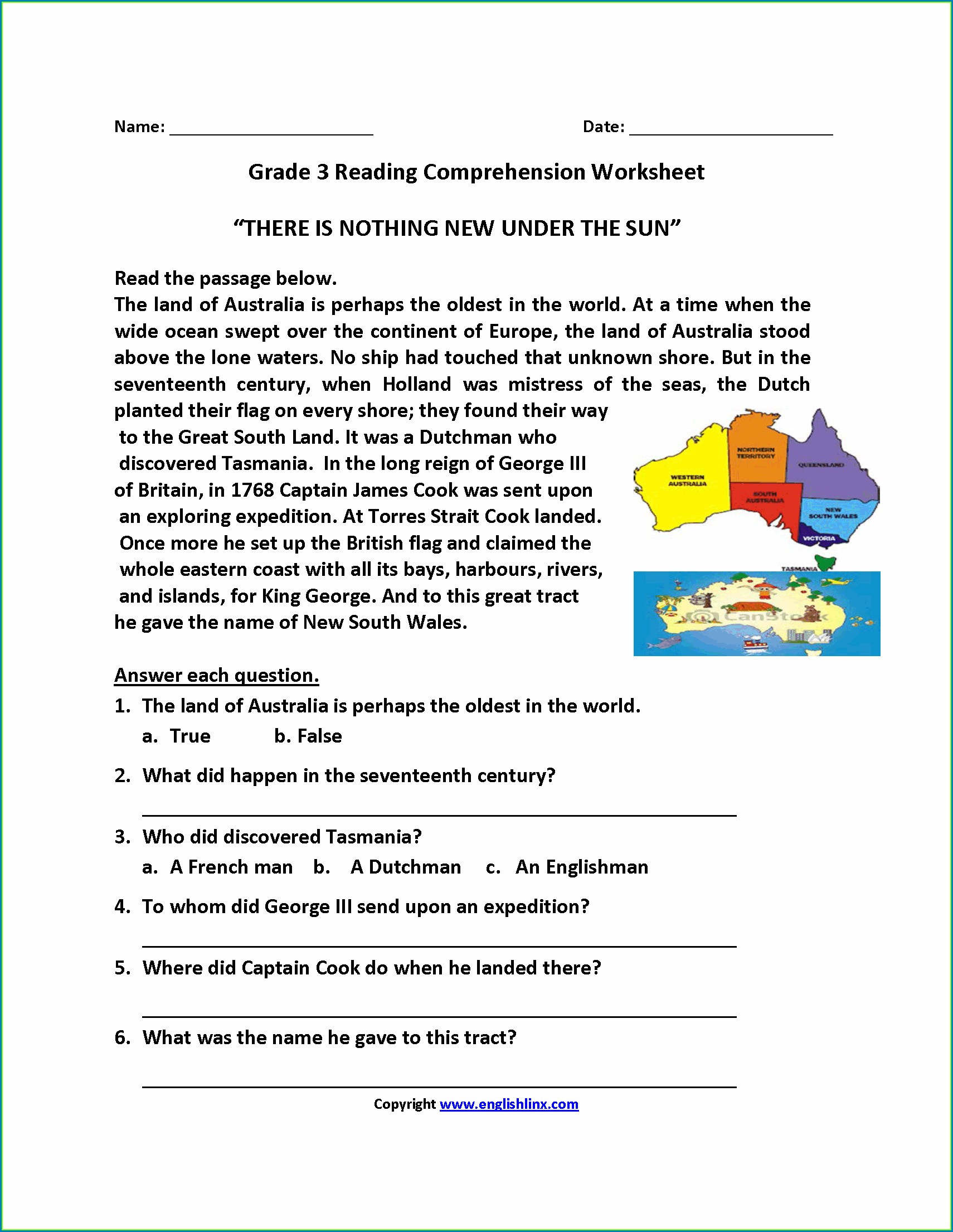 Grade 2 English Comprehension Worksheets Pdf