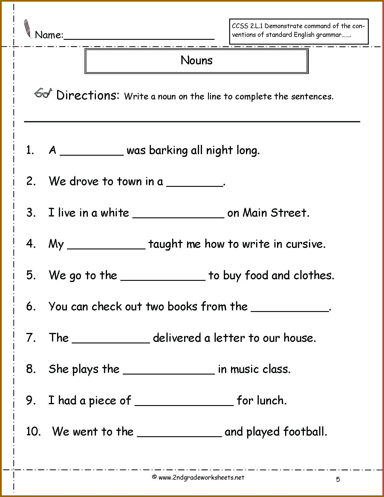 Grade 2 English Worksheets Nouns